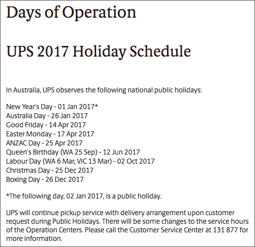 UPS Australia Holiday Shipping Schedules