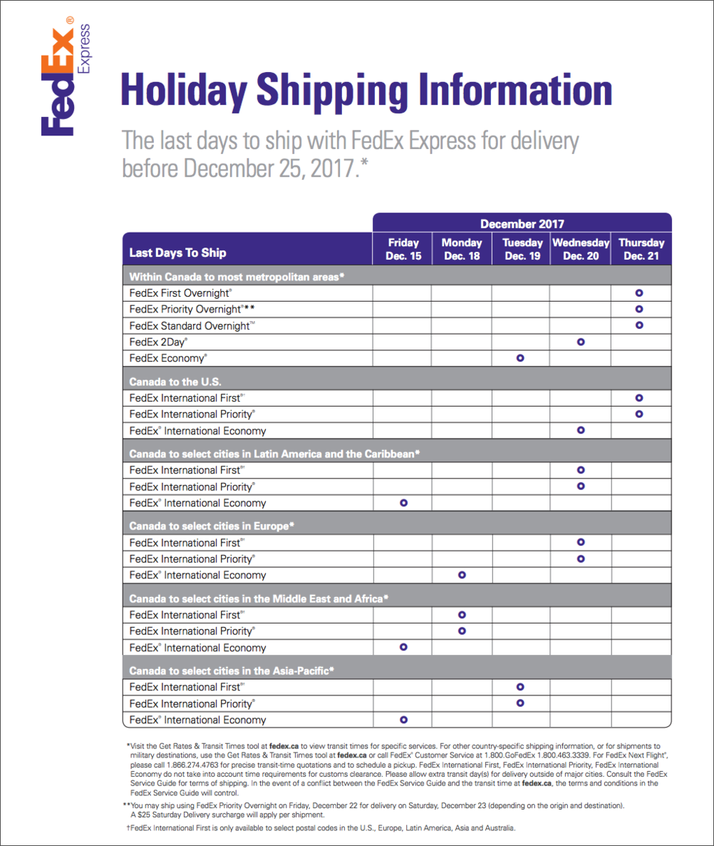 FedEx Canada Holiday Shipping Deadlines