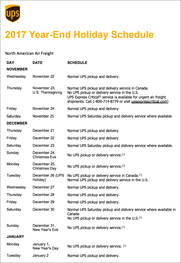 UPS Canada 2017 Holiday Schedule